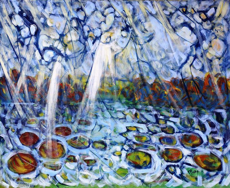 夏雨或睡莲,布面油画
