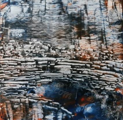 峭壁 纸本油画