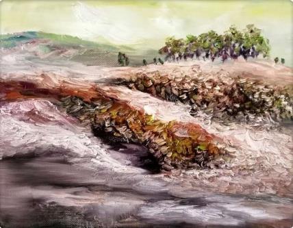 风水 布面油画