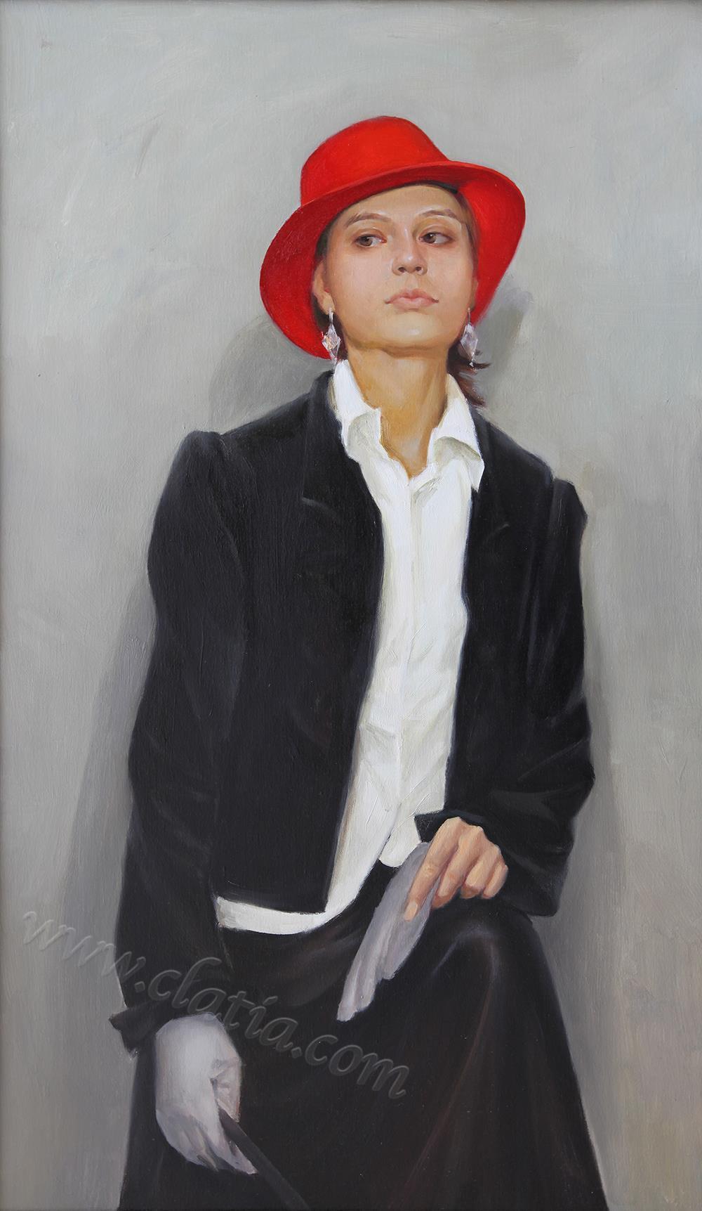 戴红帽子的女模特 - 油画