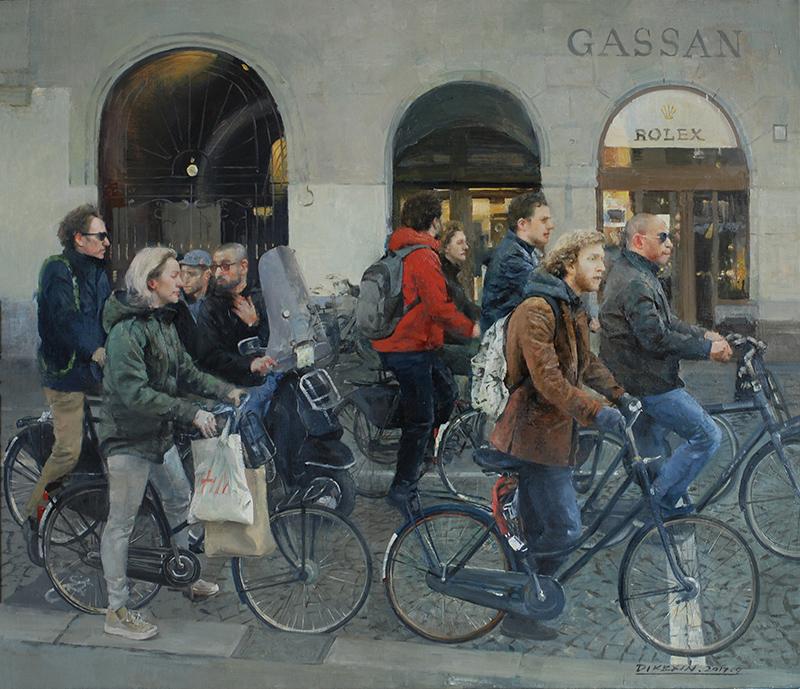 意大利街景-布面油画