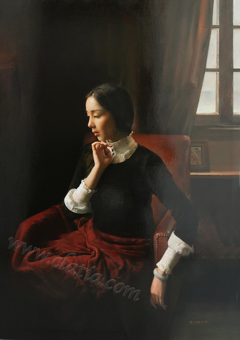 依窗少女-布面油画
