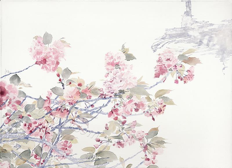 樱花倒影-布面油画
