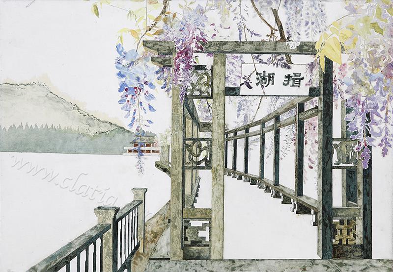 揖湖紫藤-布面油画