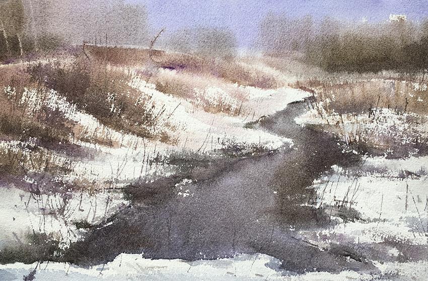 门前的小溪-水彩