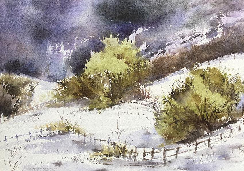 暴风雪来临前夕-水彩