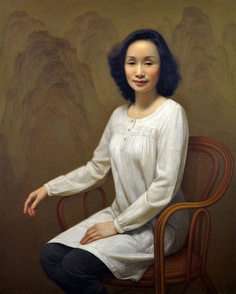 白衣女士-油画
