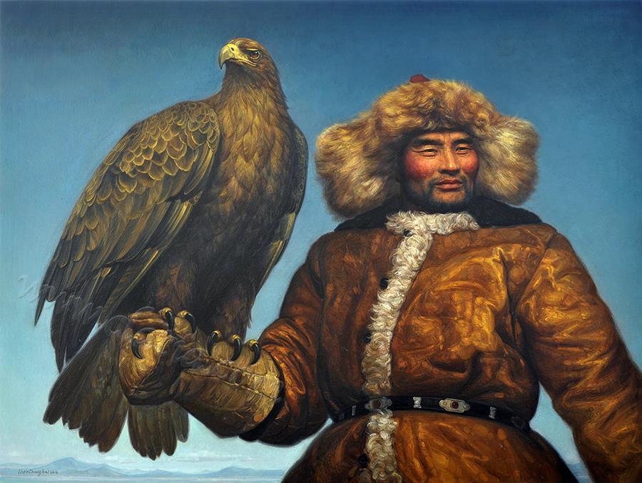 雄鹰与猎人-油画