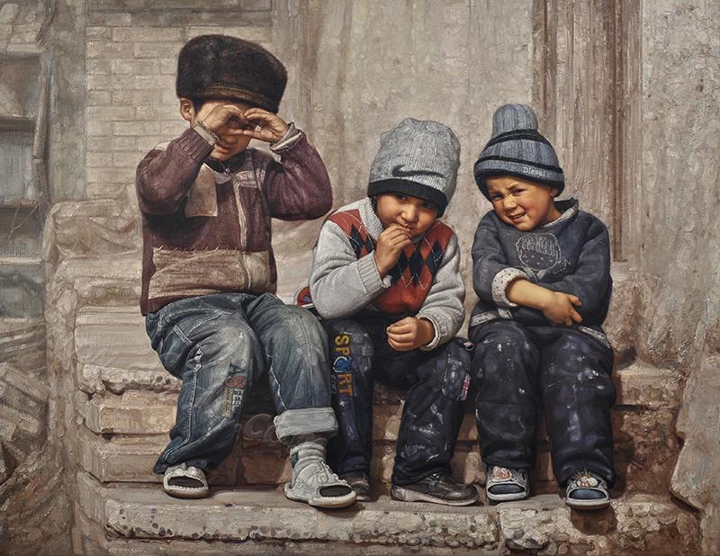 三个小兄弟-油画