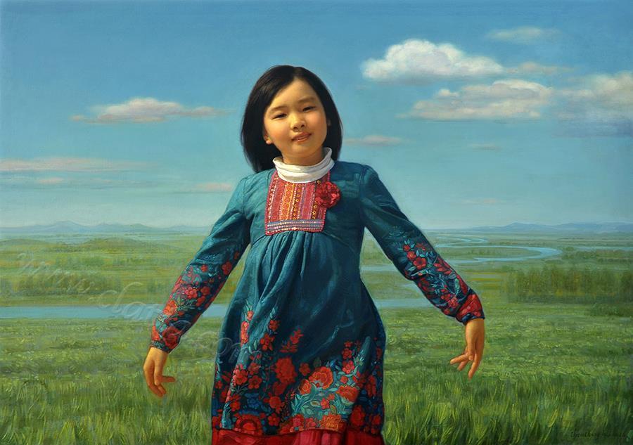 女孩与田野-油画