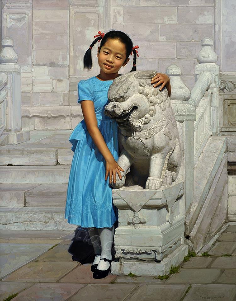 女孩与石狮-油画