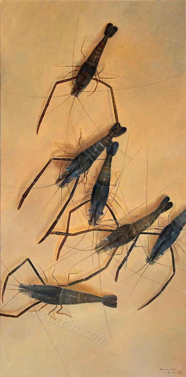 虾的构图研究-油画