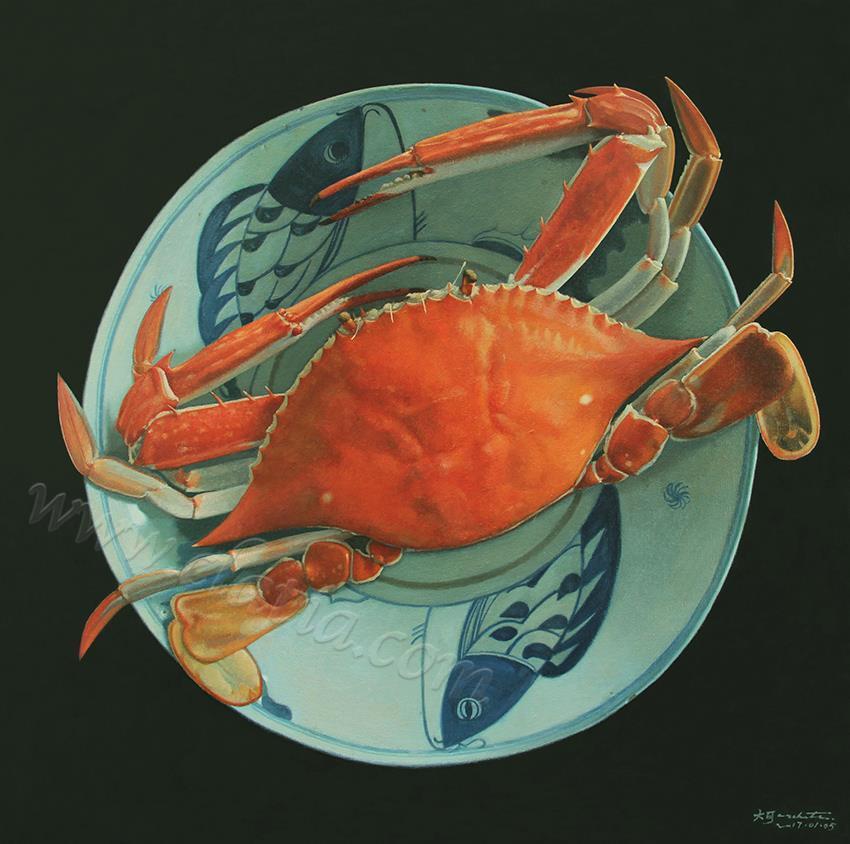 味道-蟹-油画