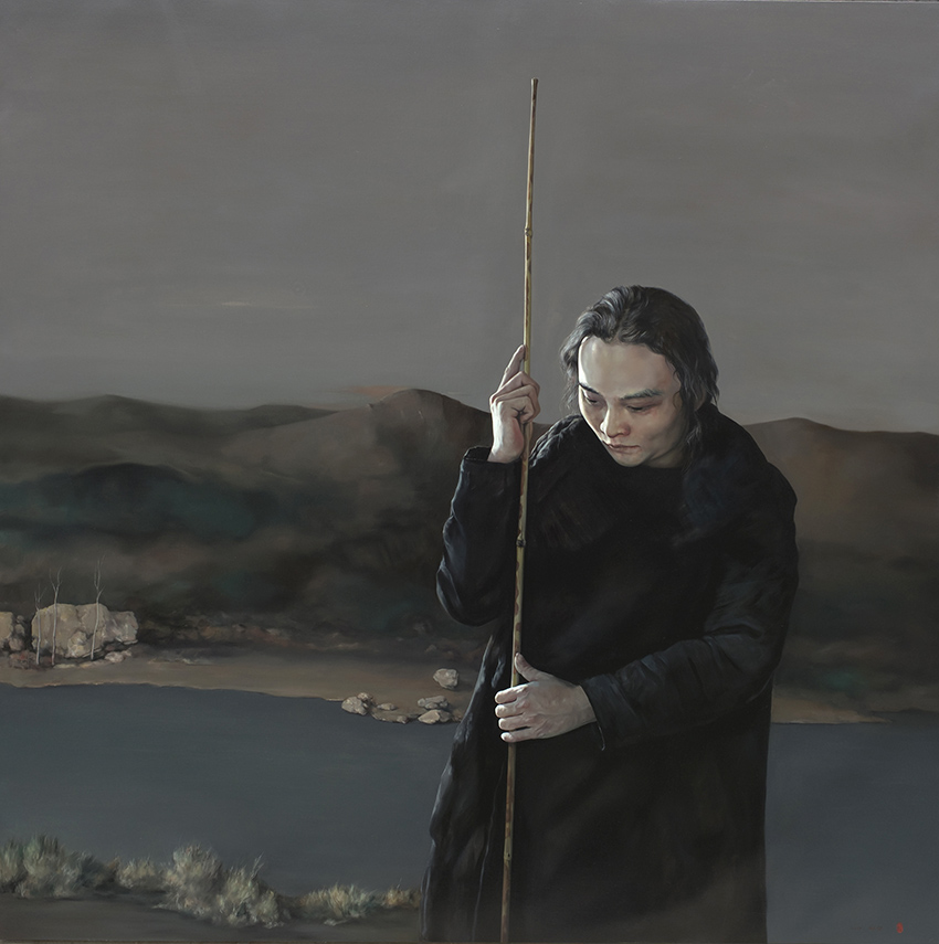少年修竹,酉水江岸-布面油画
