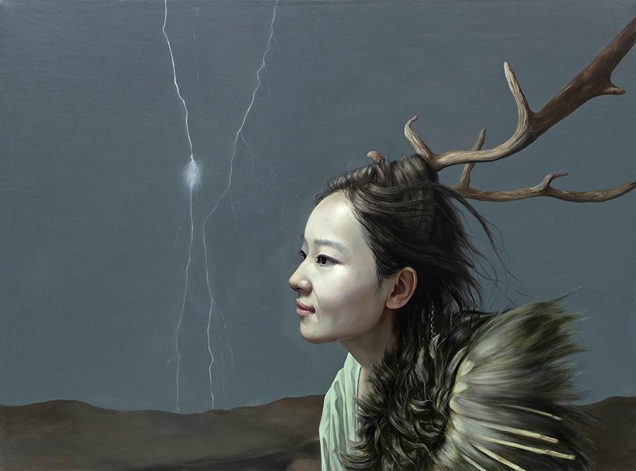 荒野鹿灵-布面油画