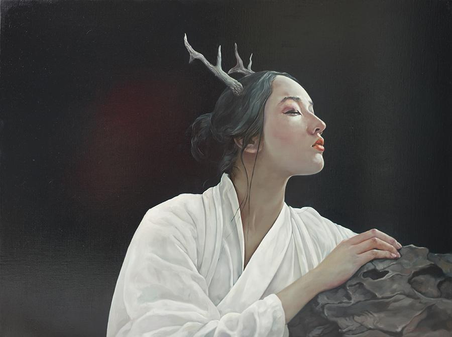 鹿灵少女-布面油画