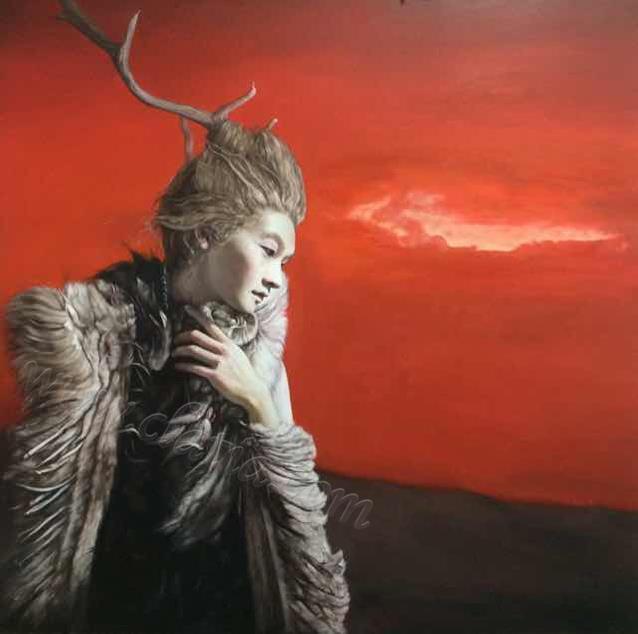 少年鹿灵-布面油画