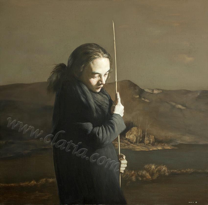 少年修竹之二-布面油画