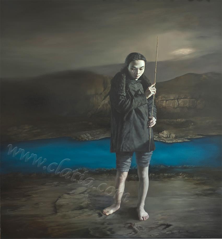 少年修竹之曲水流觞-布面油画