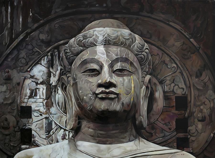 石佛-龙门-布面油画