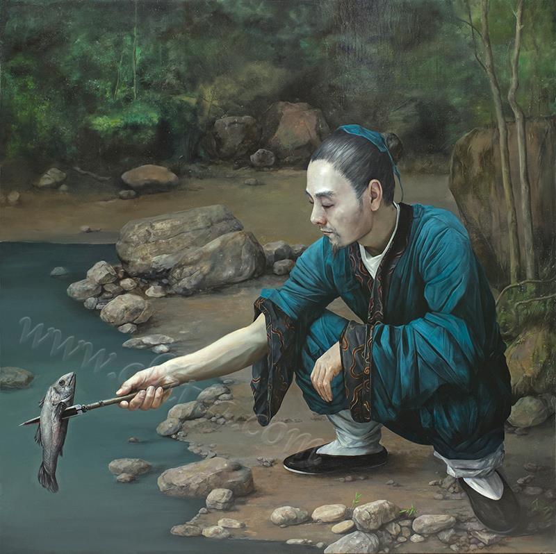 溪谷刺鱼图-布面油画