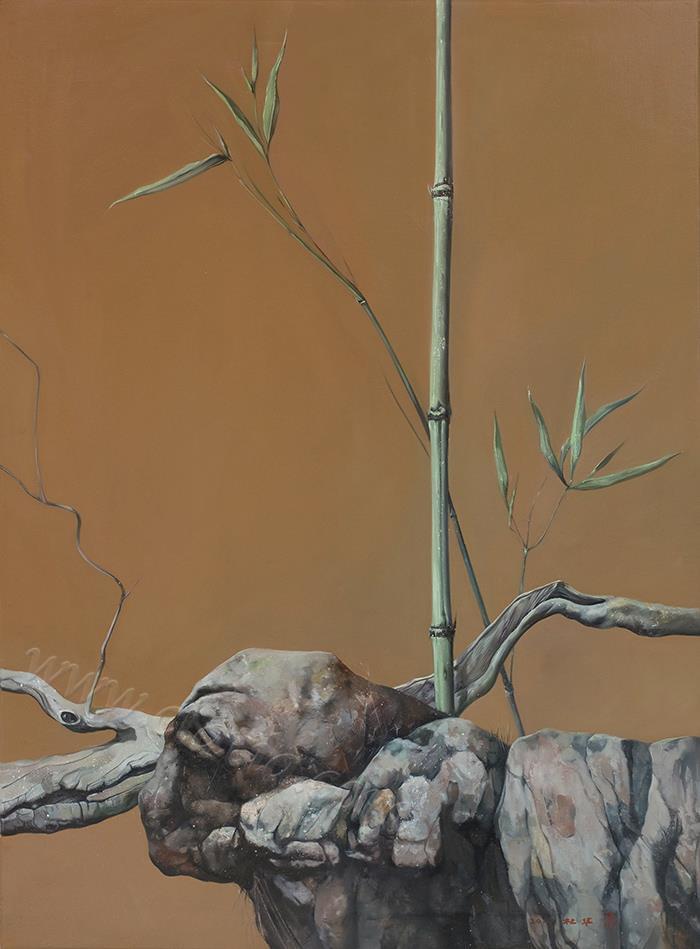 竹石枯木图-布面油画