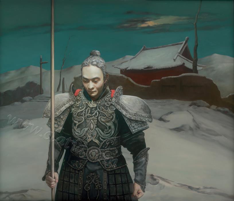 风雪山神庙-布面油画