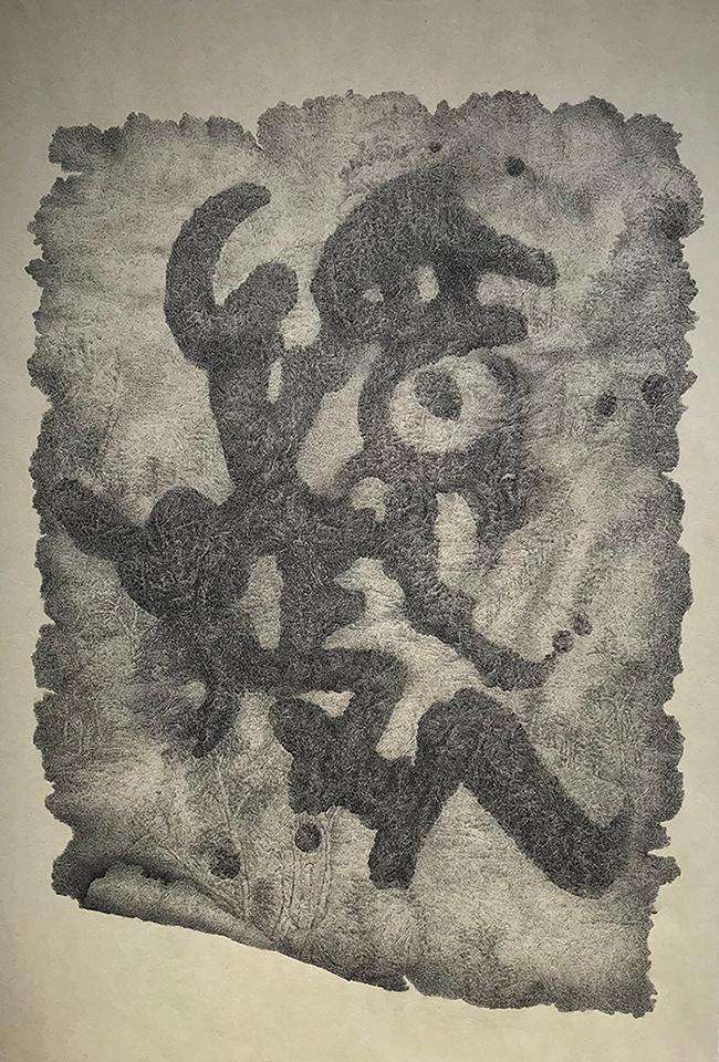 忆故人-中性笔·皮纹纸