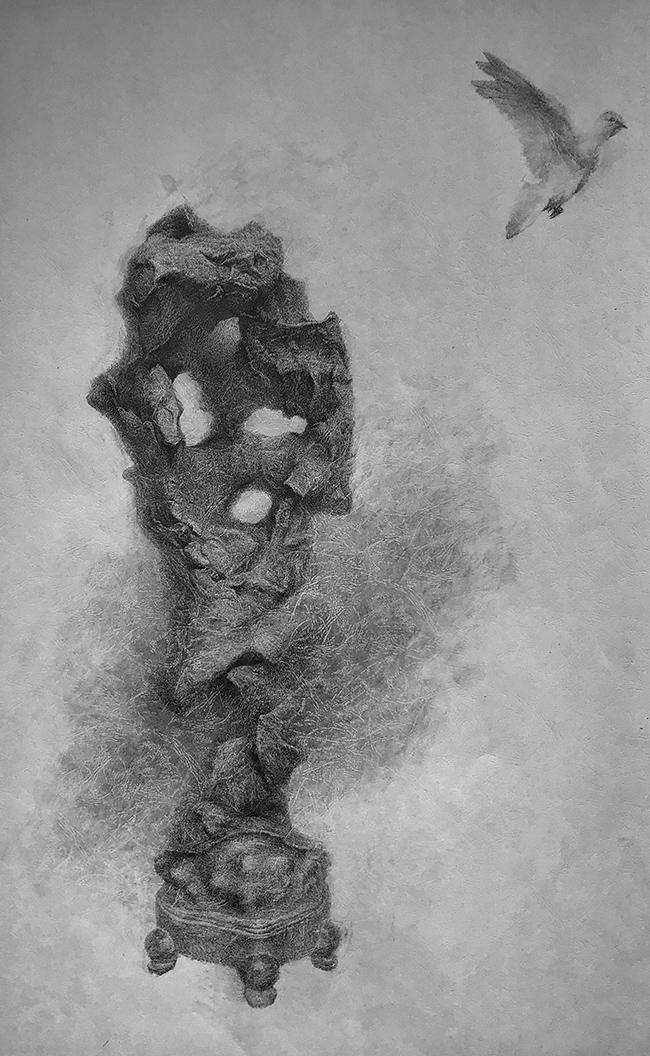石·梦-中性笔·皮纹纸
