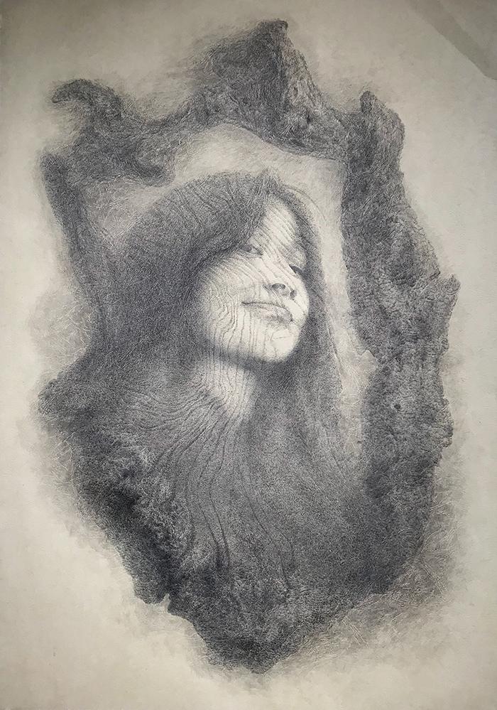 木生像镜之:小妹-中性笔·皮纹纸