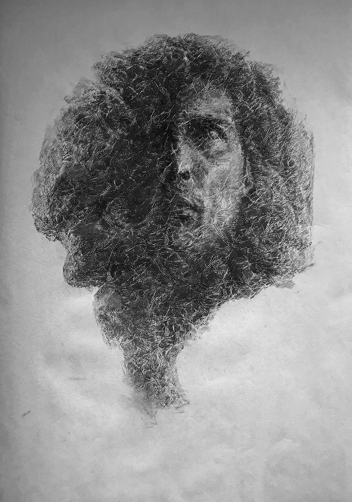 荒·沙-中性笔·皮纹纸