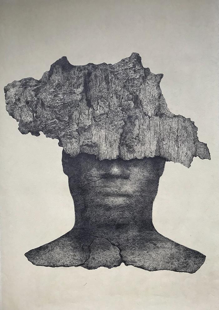 山水混沌-中性笔·皮纹纸