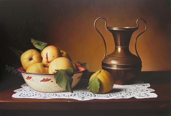 Bodegón con jarrón y membrillo