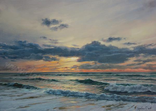 _ Вечерний пляж _ холст