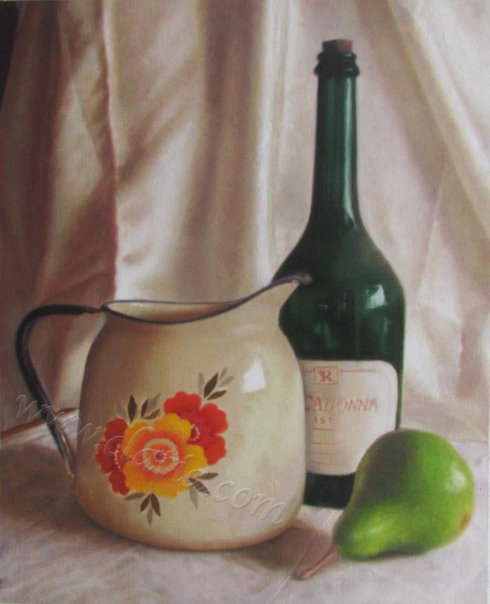 水罐、梨和瓶子的静物画