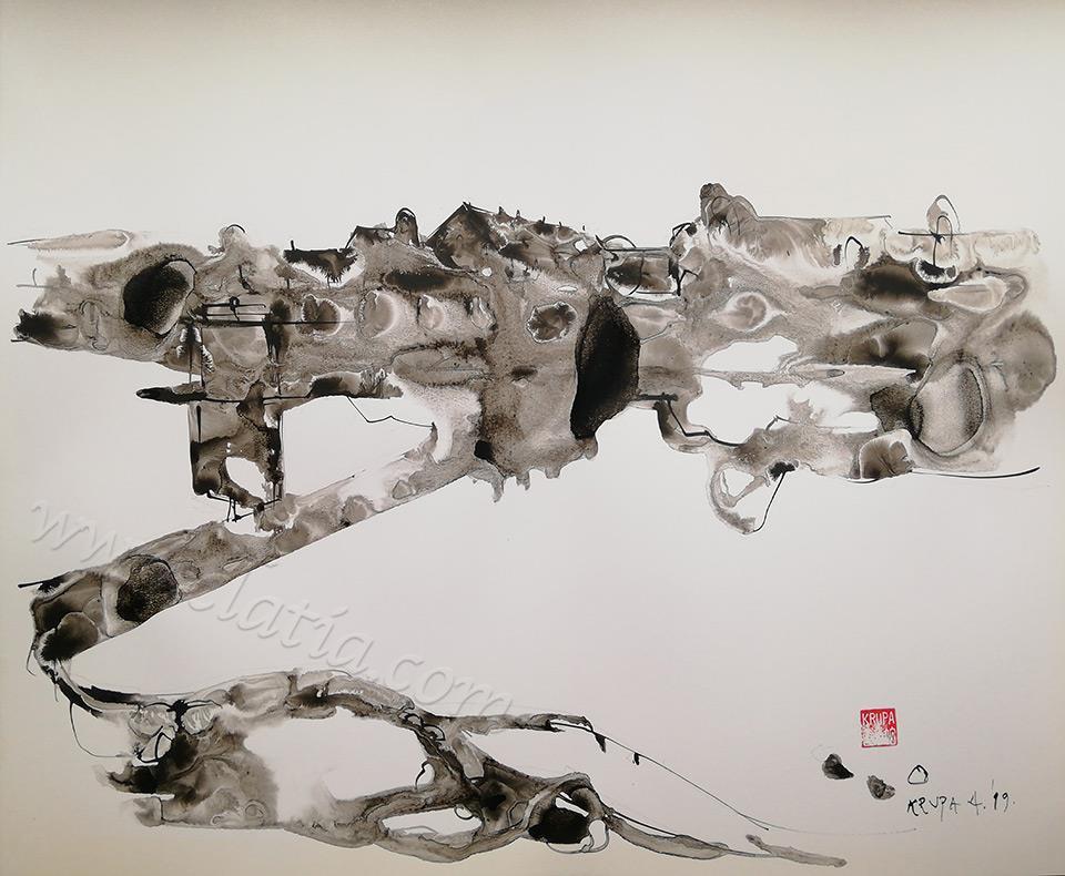 卡洛瓦克的灰色,墨水和钢笔