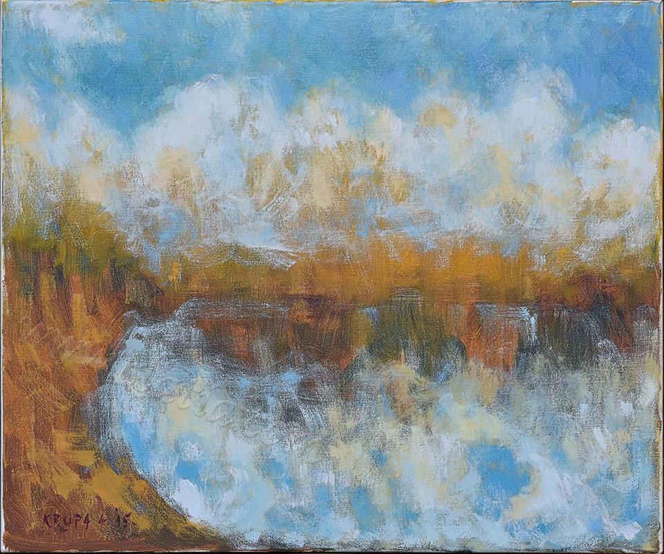 神秘的河,油画在