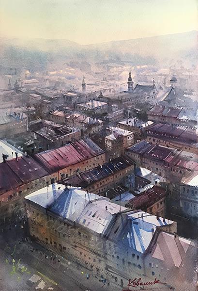«Вид на город Львов, Украина»