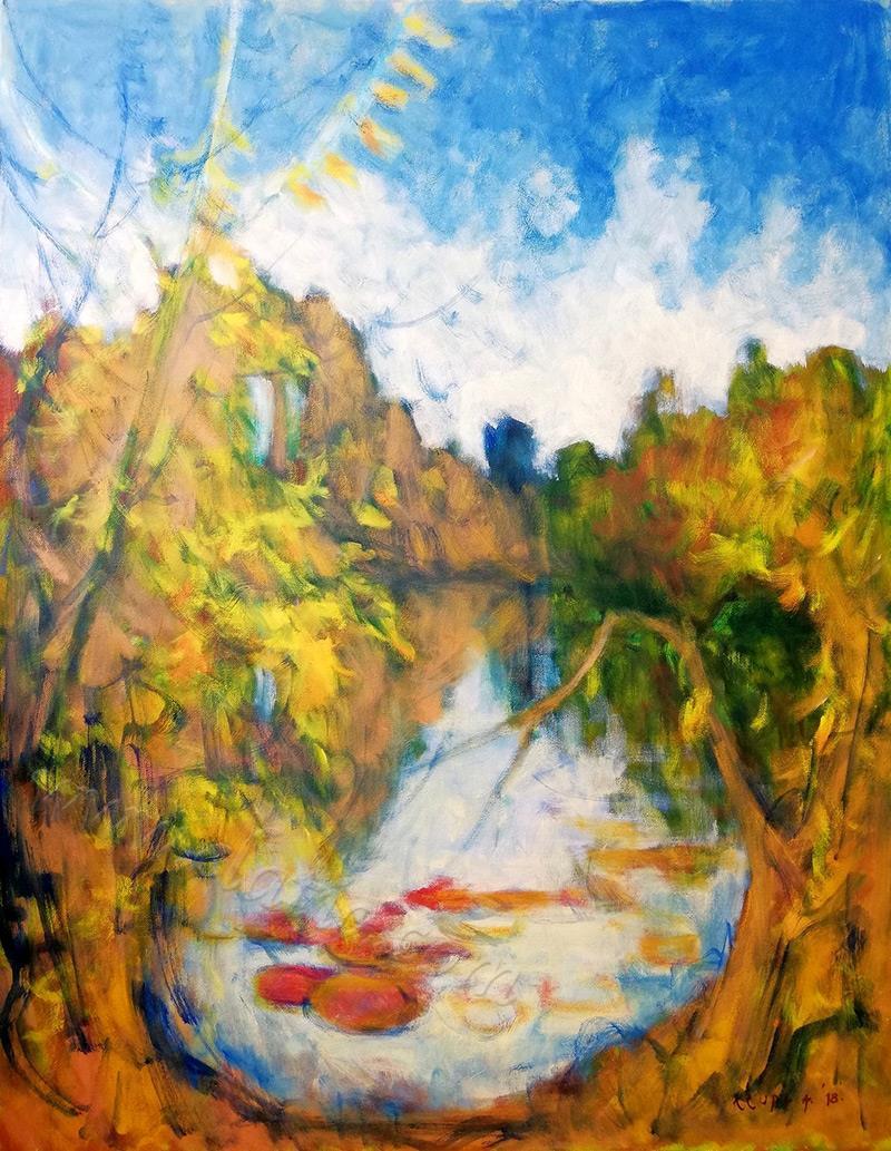 Autumn at the Korana river (en plein air) oil on canvas