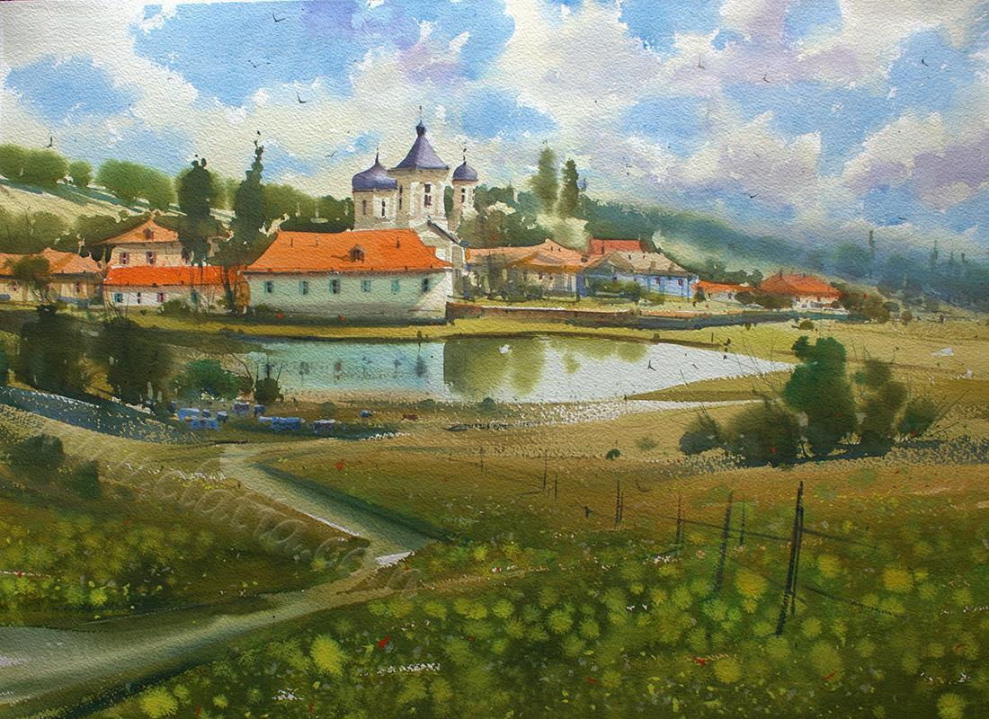 Capriana Monastery 40x60cm watercolor (1)
