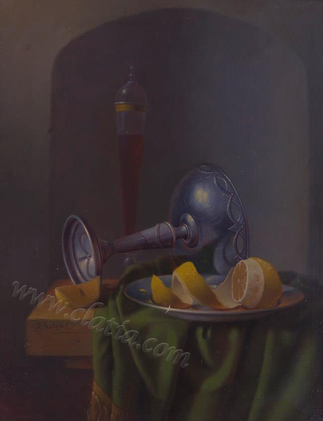 Still life with lemon and flute glass