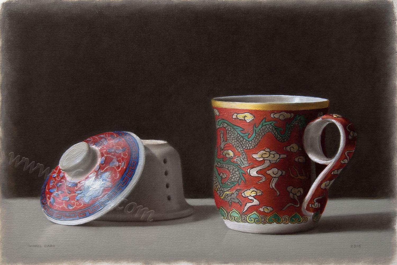 Tea mug, oil on paper