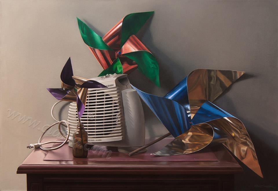 Windmills, oil on canvas