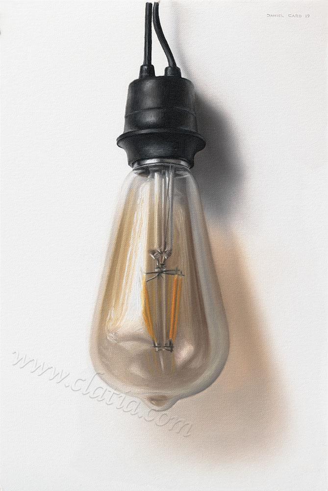 Lightbulb, oil on paper