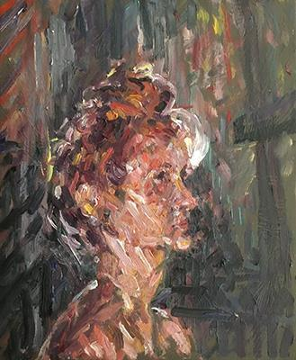 'Jane in front of lamp'