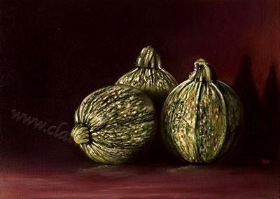 Natura morta con tre zucchine