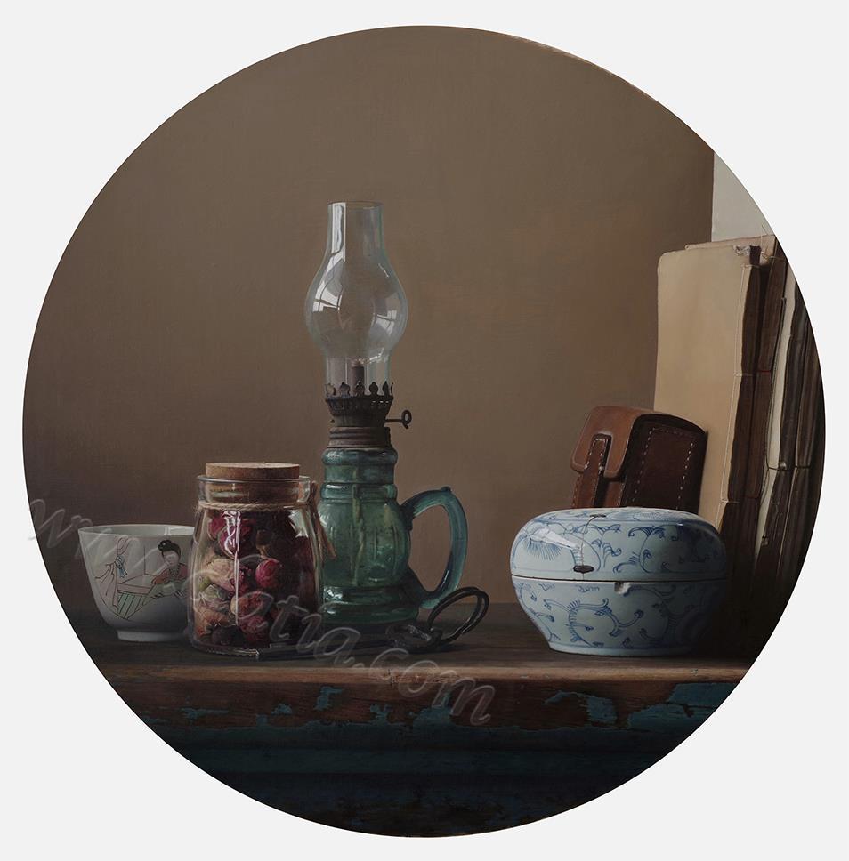 玫瑰花茶-布面油画
