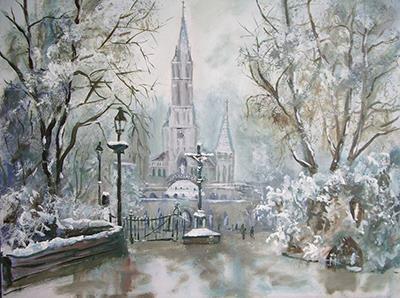 Basilique Lourdes sous le neig