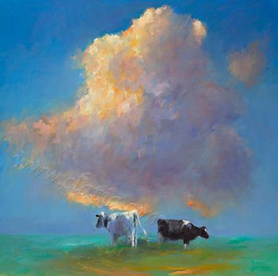 Cloud & Cows , oil on canvas
