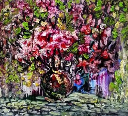 花卉 布面油画